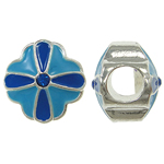 Zinc Alloy European Beads, Flower, without troll & enamel & with rhinestone, blue, nickel, lead & cadmium free, 10x10mm, Hole:Approx 5mm, 10PCs/Bag, Sold By Bag