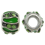 Zinc Alloy European Beads, Rondelle, without troll & enamel & with rhinestone, nickel, lead & cadmium free, 10x8mm, Hole:Approx 5mm, 10PCs/Bag, Sold By Bag