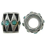 Zinc Alloy European Beads, Drum, without troll & with rhinestone, nickel, lead & cadmium free, 9x9mm, Hole:Approx 5mm, 10PCs/Bag, Sold By Bag