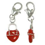 Zinc Alloy Lobster Clasp Charm, Handbag, enamel, red, nickel, lead & cadmium free, 31x10x4mm, Hole:Approx 5x4mm, Sold By PC