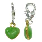 Zinc Alloy Lobster Clasp Charm, Heart, enamel, green, nickel, lead & cadmium free, 10x25x4mm, Hole:Approx 5x4mm, 10PCs/Bag, Sold By Bag