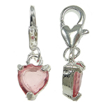 Zinc Alloy Lobster Clasp Charm, Heart, with glass rhinestone, nickel, lead & cadmium free, 8x15x4mm, Hole:Approx 5x4mm, 10PCs/Bag, Sold By Bag