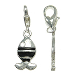 Zinc Alloy Lobster Clasp Charm, Fish, enamel, nickel, lead & cadmium free, 12x35x4mm, Hole:Approx 5x4mm, 10PCs/Bag, Sold By Bag