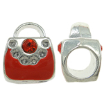 Zinc Alloy European Beads, Handbag, without troll & enamel & with rhinestone, red, nickel, lead & cadmium free, 9x11x8mm, Hole:Approx 5mm, 10PCs/Bag, Sold By Bag
