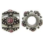 Zinc Alloy European Beads, Drum, without troll & with rhinestone, nickel, lead & cadmium free, 11x9mm, Hole:Approx 5mm, Sold by Bag