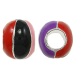 Zinc Alloy European Beads, Rondelle, without troll & enamel, multi-colored, nickel, lead & cadmium free, 11x9mm, Hole:Approx 5mm, 10PCs/Bag, Sold By Bag