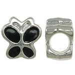 Zinc Alloy European Beads, Butterfly, without troll & enamel, black, nickel, lead & cadmium free, 9x9.50x6mm, Hole:Approx 4.5mm, Sold By PC