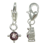 Zinc Alloy Lobster Clasp Charm, Flat Oval, nickel, lead & cadmium free, 8x26x4.50mm, Hole:Approx 5x4mm, 10PCs/Bag, Sold By Bag