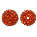 Rhinestone Resin Beads, Round, with rhinestone, Hyacinth, 12x12mm, Hole:Approx 1mm, 10PCs/Bag, Sold By Bag
