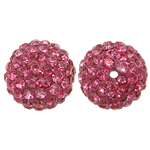 Rhinestone Resin Beads, Round, with rhinestone, Rose, 12x12mm, Hole:Approx 1mm, 10PCs/Bag, Sold By Bag