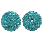 Rhinestone Resin Beads, Round, with rhinestone, Aquamarine, 12x12mm, Hole:Approx 1mm, 10PCs/Bag, Sold By Bag