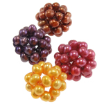 Ball Cluster Cultured Pearl Beads, Freshwater Pearl, Round, mixed colors, 24mm, 5PCs/Bag, Sold By Bag