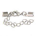 Brass Lobster Claw Cord Clasp, platinum color plated, with cord tip, nickel, lead & cadmium free, 6x12mm, 4.5x5mm, Length:2 Inch, 300Strands/Lot, Sold By Lot