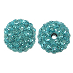 Rhinestone Resin Beads, Round, with rhinestone, Aquamarine, 10x10mm, Hole:Approx 1.5mm, 10PCs/Bag, Sold By Bag