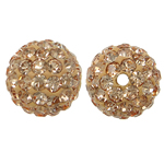 Rhinestone Resin Beads, Round, with rhinestone, Silver Champagne, 10x10mm, Hole:Approx 1mm, 10PCs/Bag, Sold By Bag
