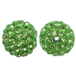 Rhinestone Resin Beads, Round, with rhinestone, Fern Green, 10x10mm, Hole:Approx 2mm, 10PCs/Bag, Sold By Bag