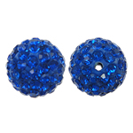 Rhinestone Resin Beads, Round, with rhinestone, Cobalt Blue, 12x12mm, Hole:Approx 1.5mm, 10PCs/Bag, Sold By Bag