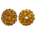 Rhinestone Resin Beads, Round, with rhinestone, Topaz, 10x10mm, Hole:Approx 1.5mm, 10PCs/Bag, Sold By Bag