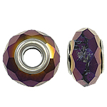 European kristalli helmiä, Rondelli, hopeaa Kaksoisjohdin ilman peikko, metalliväri päällystetty, 14x8mm, Reikä:N. 5mm, 20PC/laukku, Myymät laukku