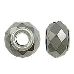 European kristalli helmiä, Rondelli, hopeaa Kaksoisjohdin ilman peikko, metalliväri päällystetty, 15x10mm, Reikä:N. 5mm, 20PC/laukku, Myymät laukku
