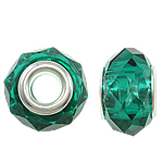 European Crystal Beads, Rondelle, sterling silver double core without troll, Emerald, 14x9mm, Hole:Approx 5mm, 20PCs/Bag, Sold By Bag