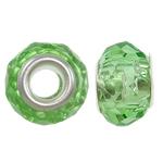 European kristalli helmiä, Rondelli, hopeaa Kaksoisjohdin ilman peikko, Peridot, 14x9mm, Reikä:N. 5mm, 20PC/laukku, Myymät laukku