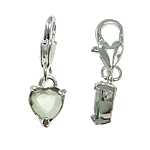 Zinc Alloy Lobster Clasp Charm, Heart, nickel, lead & cadmium free, 8x25x4mm, Hole:Approx 5x4mm, 10PCs/Bag, Sold By Bag