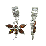 Zinc Alloy European Pendant, Animal, dragonfly design, with glass rhinestone cabochon, nickel, lead & cadmium free, 20x30x8mm, Hole:Approx 5mm , 10pcs/Bag , Sold by Bag