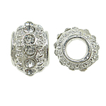 Zinc Alloy European Beads, Drum, without troll & with rhinestone, nickel, lead & cadmium free, 11x7mm, Hole:Approx 5mm, 10PCs/Bag, Sold by Bag