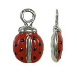 Zinc Alloy Animal Pendants, Ladybug, enamel, red, nickel, lead & cadmium free, 8x16x4mm, Hole:Approx 2mm, 10PCs/Bag, Sold By Bag