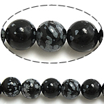 Natural Snowflake Obsidian Beads, Round, 4mm, Hole:Approx 0.8mm, Length:Approx 15 Inch, 10Strands/Lot, Approx 90PCs/Strand, Sold By Lot