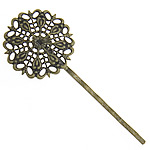 Iron Hair Slide Finding, bronze plated, with brass filigree base, 25x25mm, 55mm, 100PC/Bag, Sold by Bag