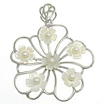 Natural White Shell Pendants, with Freshwater Pearl & Brass, Flower, platinum color plated, white, nickel, lead & cadmium free, 45x47x6mm, Hole:Approx 6x9mm, Sold By PC