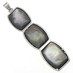 Natural Black Shell Pendants with Brass platinum color plated nickel lead   cadmium free 14x53x4.50mm Hole:Approx 4x5mm