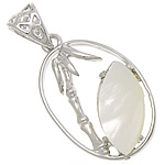 Natural White Shell Pendants, with Brass, Oval, white, nickel, lead & cadmium free, 17x28x4mm, Hole:Approx 4.5x5mm, Sold By Lot