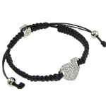 Zinc Alloy Shamballa Bracelet, heart shape zinc alloy with rhinestone, handcrafted wax cord, adjustable, nickel, lead &amp; cadmium free, 19mm, Sold per 7.5-Inch Strand