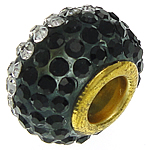 European Resin Beads, Rondelle, gold color plated, brass double core without troll & with rhinestone, black, 9.50x14.50mm, Hole:Approx 5.2mm, 20PCs/Bag, Sold by Bag