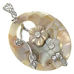 Shell Pendants, Freshwater Shell, with Brass, Oval, platinum color plated, with rhinestone, nickel, lead & cadmium free, 35x45x8mm, Hole:Approx 8x5mm, Sold By PC