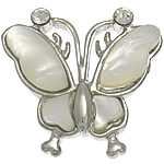 Natural White Shell Pendants, with Brass, Butterfly, white, nickel, lead & cadmium free, approx 21.5x20x4mm, Hole:Approx 6x3mm, Sold By PC