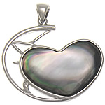 Natural Black Shell Pendants with Brass Heart black nickel lead   cadmium free approx 45x36x4mm Hole:Approx 8x5mm