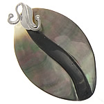 Natural Black Shell Pendants with Brass Oval nickel lead   cadmium free approx 31.5x54x6mm Hole:Approx 3mm