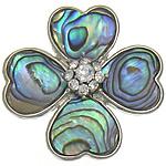 Naturalne wisiorki z muszli, Muszla Abalone, ze Mosiądz, Kwiat, Platerowane w kolorze platyny, z kamieniem, bez zawartości niklu, ołowiu i kadmu, approx 34x34x8mm, otwór:około 5x3mm, sprzedane przez PC