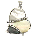 Natural Mosaic Shell Pendants, Heart, approx 35x35x7mm, Hole:Approx 6x4mm, 10PCs/Bag, Sold By Bag
