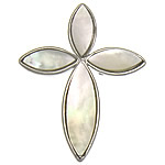 Natural White Shell Pendants, with Brass, Flower, white, nickel, lead & cadmium free, approx 32x40x3mm, Hole:Approx 3mm, Sold By PC