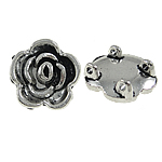 Flower Zinc Alloy Connector antique silver color plated 2/2 loop nickel lead   cadmium free 18x8mm Hole:Approx 1.5mm Approx 250PCs/Bag