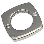 Stainless Steel Connector, Square, 1/1 loop, original color, 13.50x13.50x2mm, Hole:Approx 1mm, 100PCs/Lot, Sold By Lot
