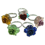 Crystal Iron Finger Ring, with aluminum flower, mixed color, 8~10.5#, box packed, 6x8mm, Hole:Approx 18-20mm, 100PC/Box, Sold by Box