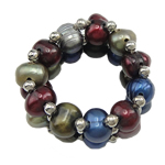 Freshwater Pearl Finger Ring, with Brass, multi-colored, 3-6mm, US Ring Size:5, Sold By PC