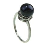 Freshwater Pearl Finger Ring, with Brass, platinum color plated, 8-9mm, Hole:Approx 16-18mm, Sold By PC
