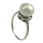 Freshwater Pearl Finger Ring, with Brass, platinum color plated, white, 8-9mm, Hole:Approx 16-18mm, Sold By PC